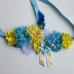 Accessories - Rubber duck baby shower sash/blue and yellow sash